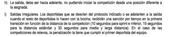 Sanción reglamento de triatlón